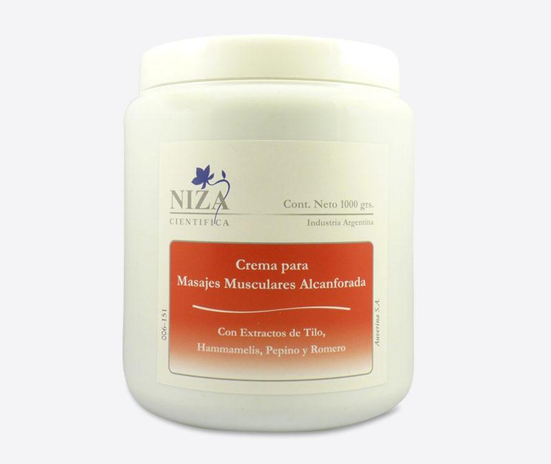 Crema para Masajes Musculares Alcanforada, con Extractos de Tilo, Hammamelis, Pepino y Romero (1000 gr.)