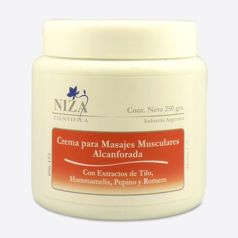 Crema para Masajes Musculares Alcanforada, con Extractos de Tilo, Hammamelis, Pepino y Romero (250 gr.)