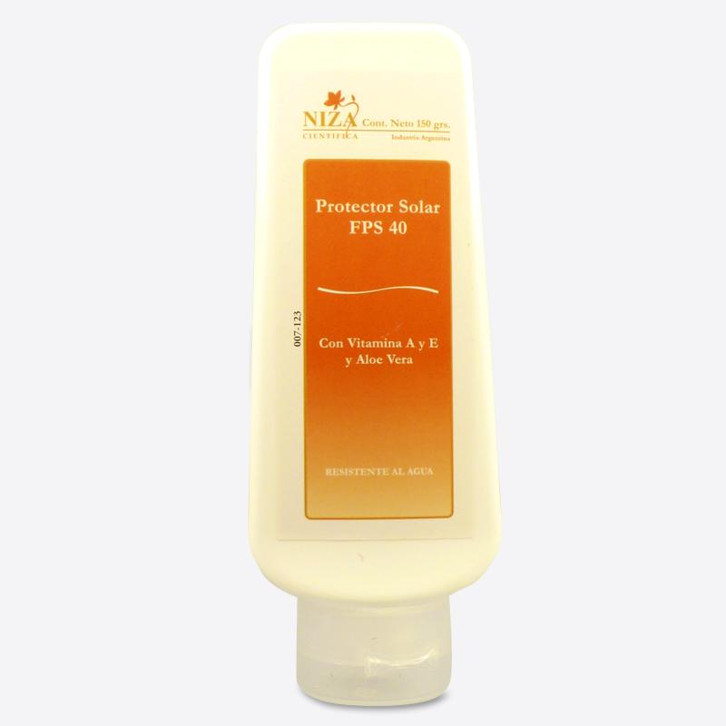 Protector Solar FPS 40 con Vitamina E, Vitamina A y Aloe Vera, Resistente al Agua.